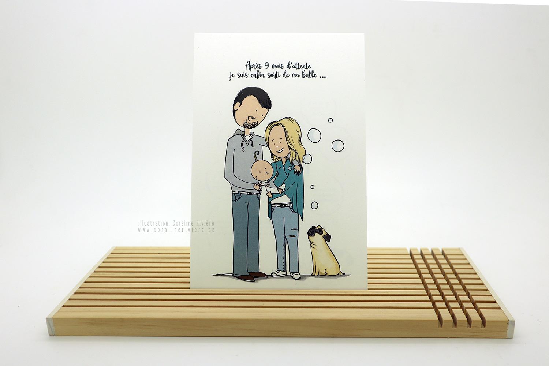 faire part naissance raphael dessin style bande dessinee bd naissance bebe parents chien carlin