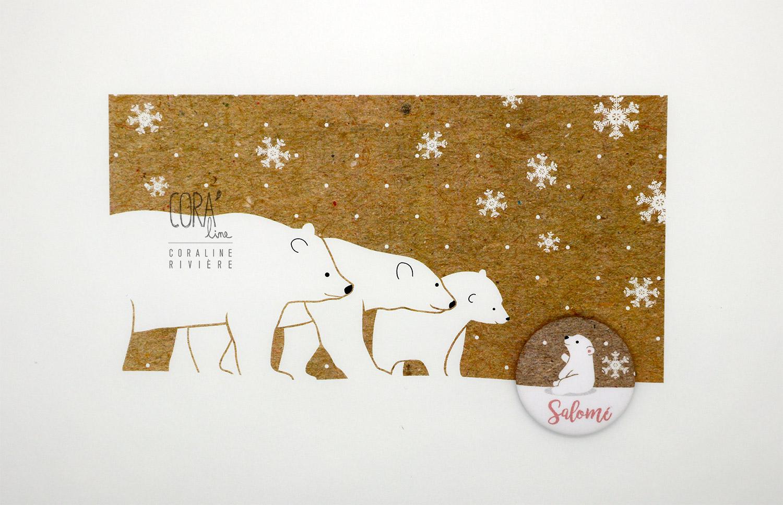 faire part naissance salome creation famille ours blanc neige kraft rose poudre blanc