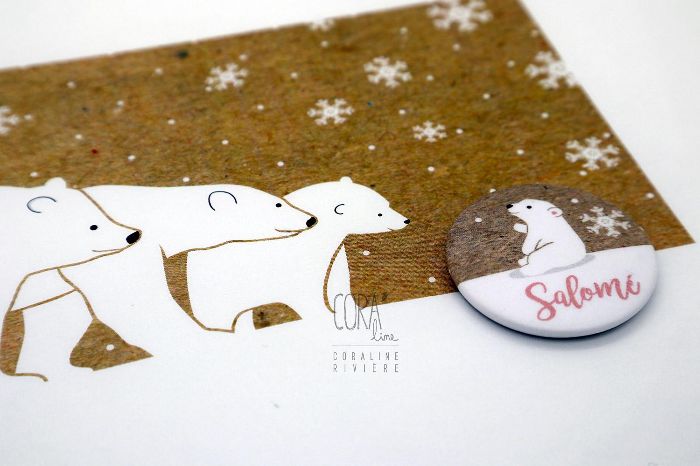 faire part naissance salome kraft blanc rose ours blanc famille neige hiver