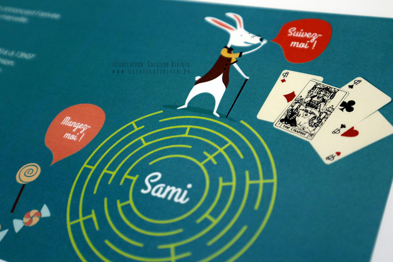 faire part naissance sami theme alice aux pays des merveilles