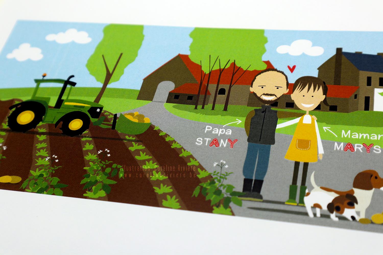 faire part naissance samy fermier vie a la ferme champ tracteurs chien