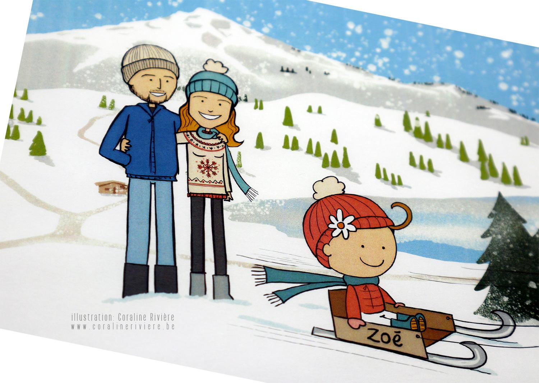 faire part naissance sport hiver ski luge montagne neige