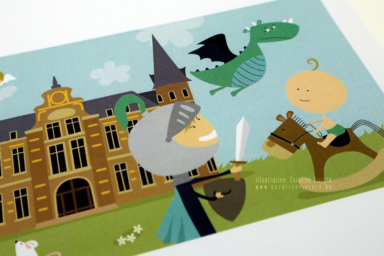 faire part naissance theme chevalier princesse chasser dragon chateau