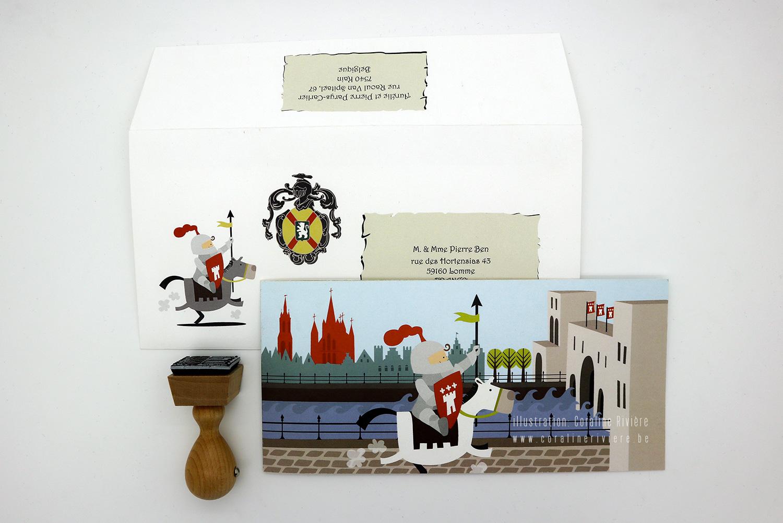 faire part naissance theodemir petit chevalier theme ville medievale tournai pont des trous escaut cathedrale1