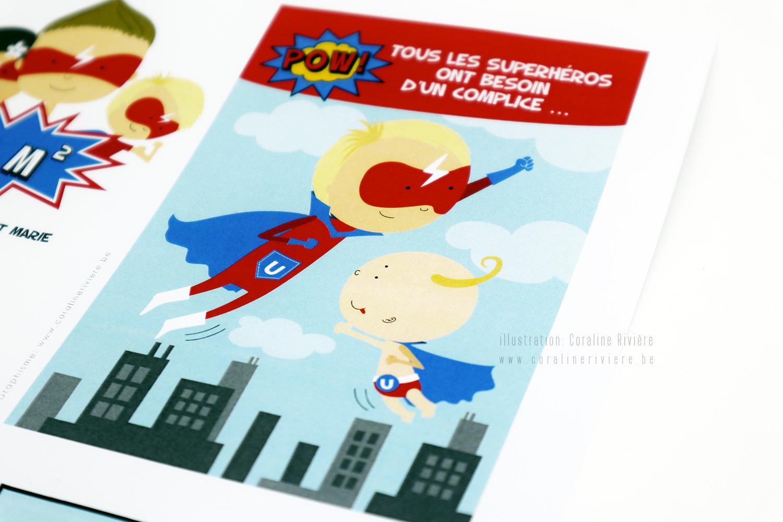 faire part naissance ulysse theme super heros grand frere petit frere bd famille super heros1