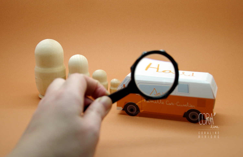 faire part naissance van vw cobi volkswagen orange toute la famille a bord