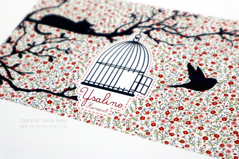 faire part naissance ysaline motif liberty fleuri oiseau sort cage