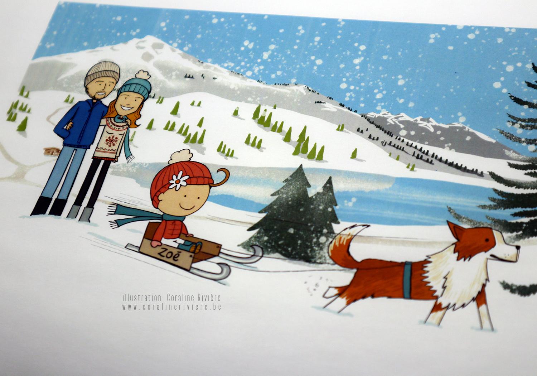 faire part naissance zoe hiver montagne neige ski luge chien traineau