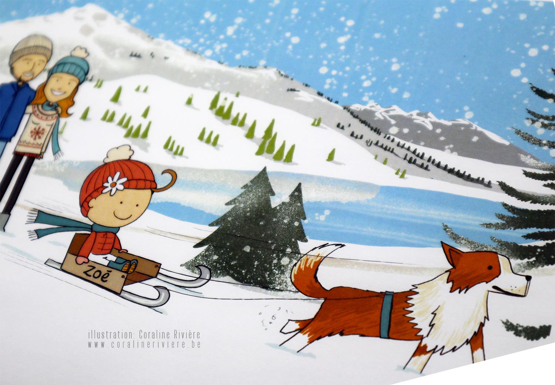 faire part naissance zoe sport hiver montagne neige ski luge chien