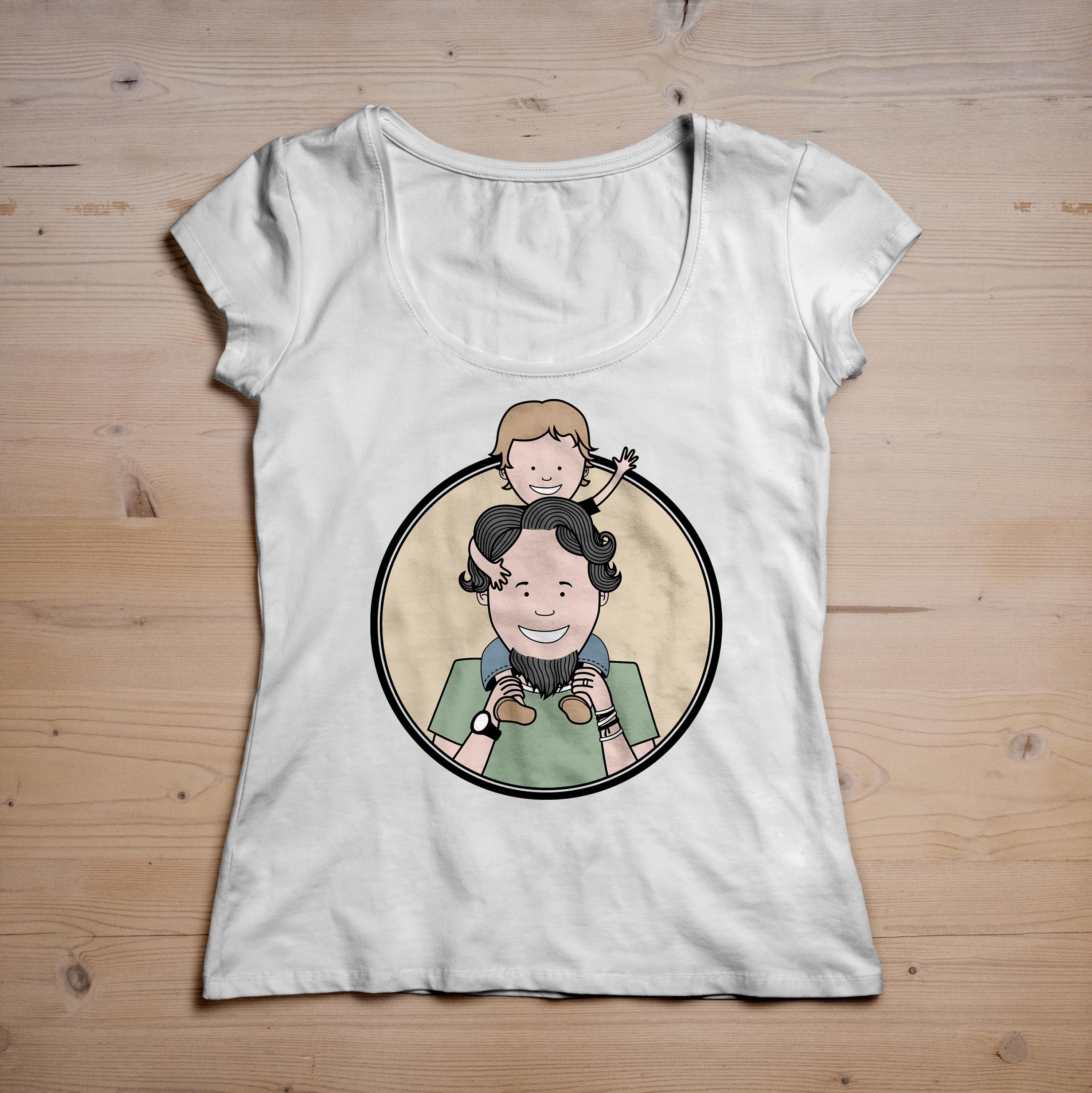 graphisme illustration personnalisee t shirt cadeau fete pere dessin enfant sur epaules papa