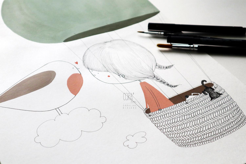 illlustration coraline riviere filette mongolfiere dans nuage reve ami rouge goerge oiseau partir en voyage