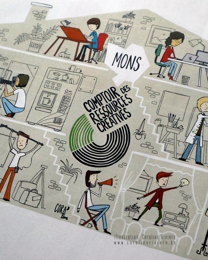 illustration comptoir des ressources creatives mons pour metiers de la creation