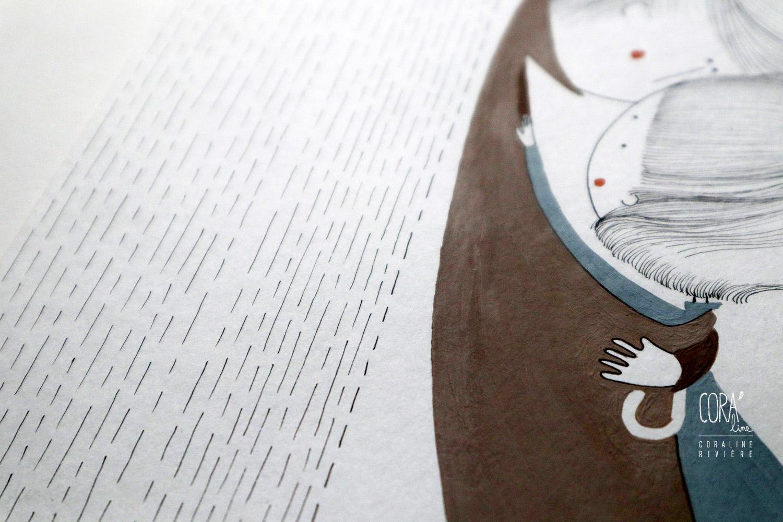 illustration coraline riviere dessin couple sous parapluie