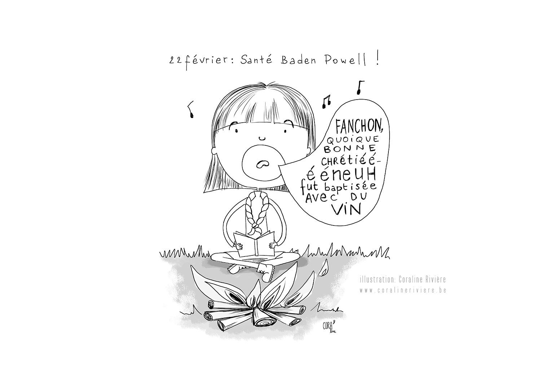 illustration coraline riviere dessin humoristique fete baden powell mouvement jeunesse 22fevrier
