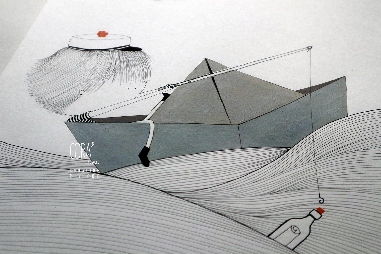 illustration coraline riviere peinture feutre noir dessin petit parin bateau en papier origami vagues un message a la mer