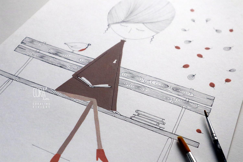 illustration encre chine rotring peinture acrylique coraline riviere fille melancolie lire livres sur banc public serrure clef oiseau rouge goerge