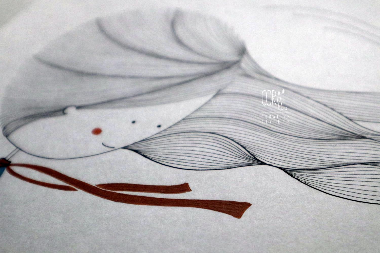 illustration feutre encre de chine peinture acrylique fille cheveux dans le vent