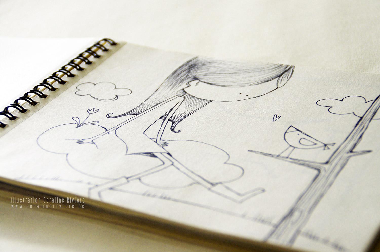 illustration fille assise dans les nuages conversation avec oiseau