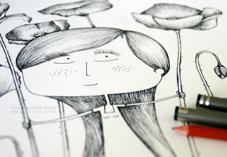 illustration fille dans champ de coquelicots geants a l aventure dessin poetique