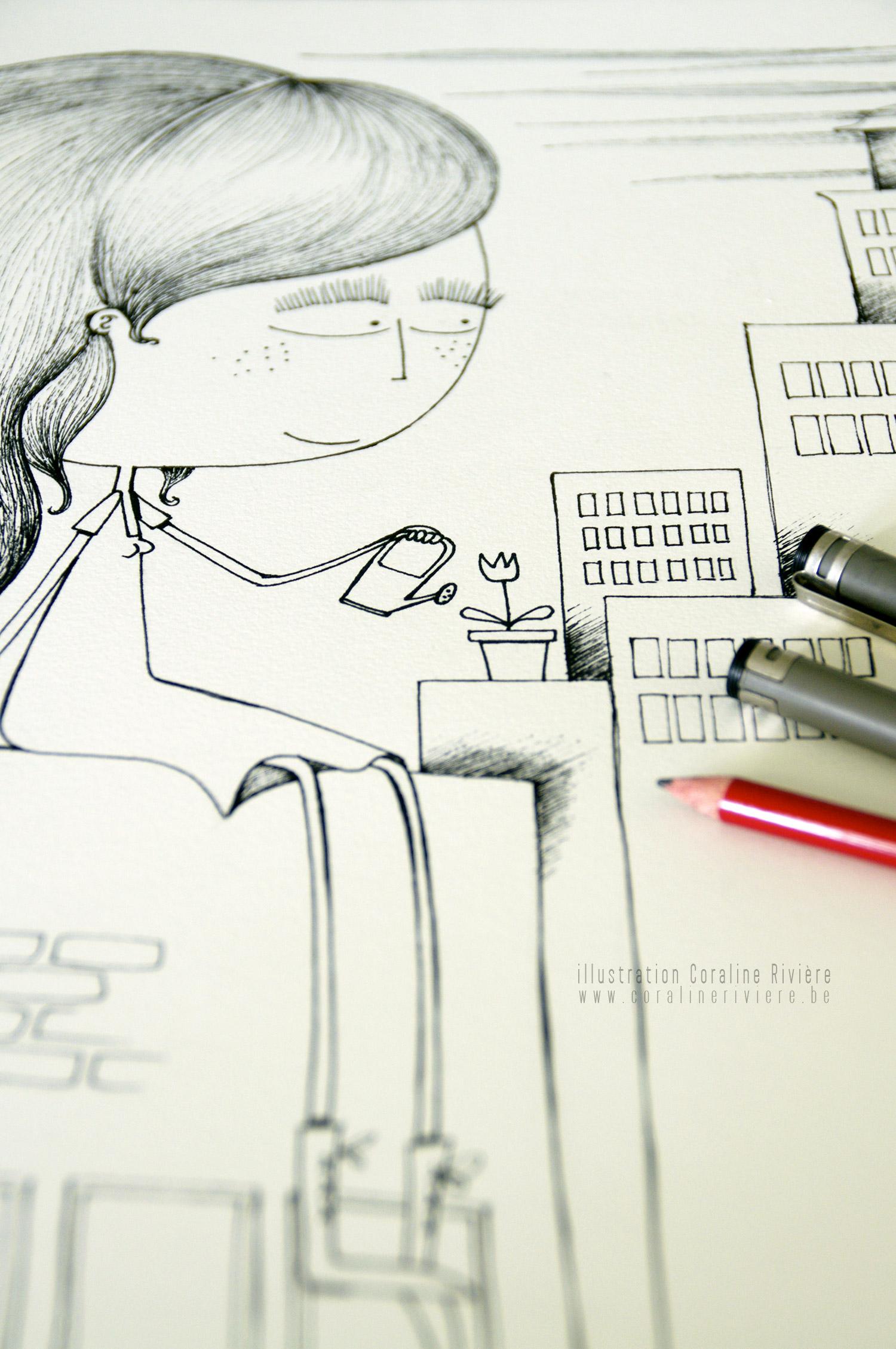 illustration fille sur les toits arroser plantes dessin poetique illustratrice belge