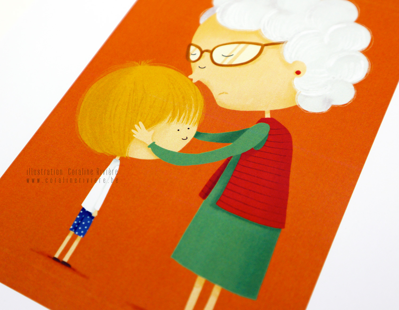 illustration jeu des emotions grand mere fait bisou petit enfant