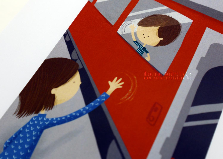 illustration jeu emotions adieu train quai de gare enfant dit aurevoir a sa maman