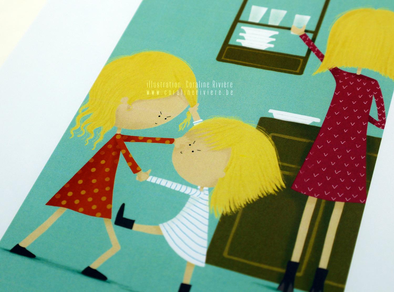illustration jeu emotions frereesoeurs se disputent maman fatiguee
