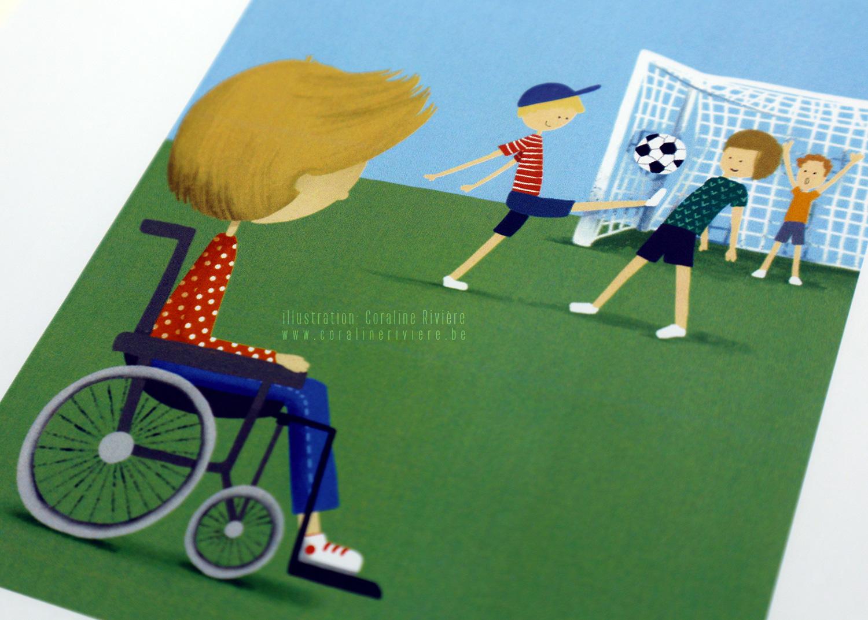 jeu emotions illustration enfant handicap chaise roulante autres enfants jouent football