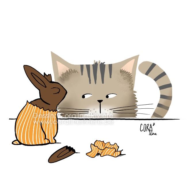 lapin de paques en chocolat chat jaloux bonnes fetes de paques