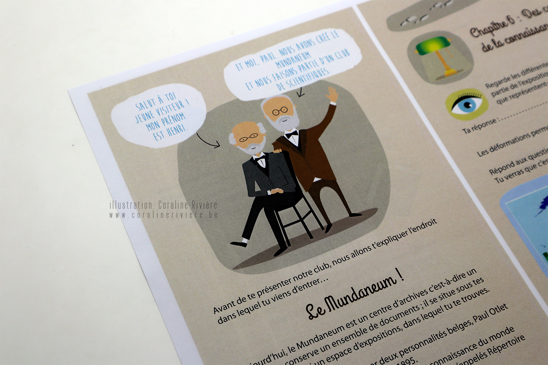 livret mundaneum mons visite pour les enfants illustrations Coraline Rivière