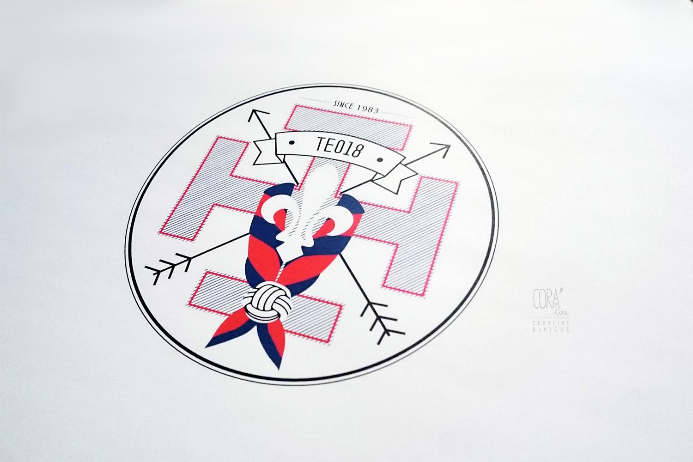 logo scoutisme scout foulard rouge bleu croix fleur lys troupe unite