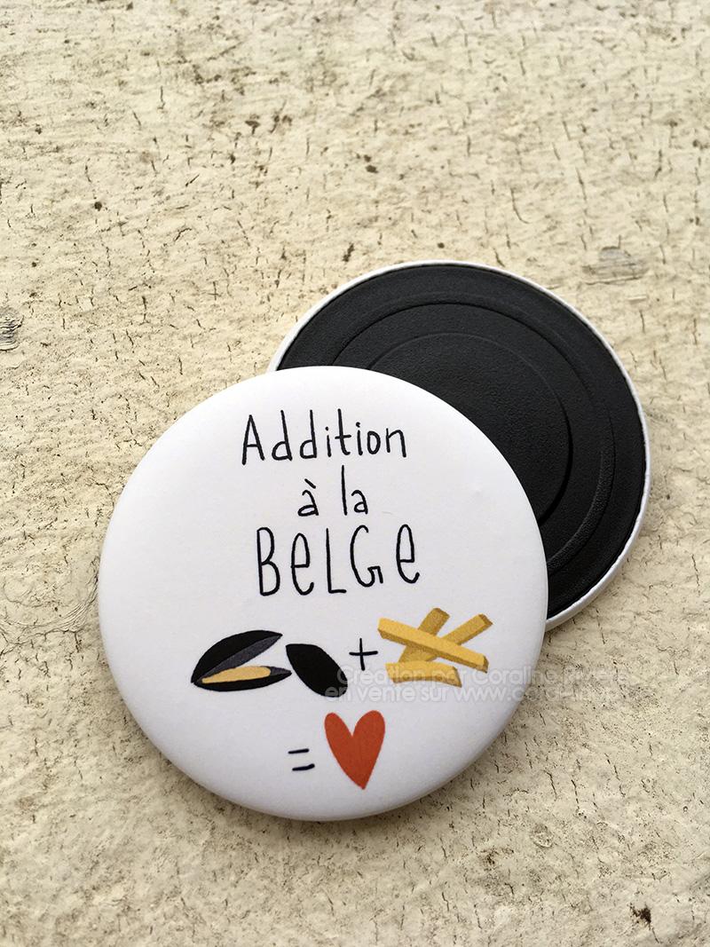 magnet aimant frigo humour belge belgitude illustration moules frites