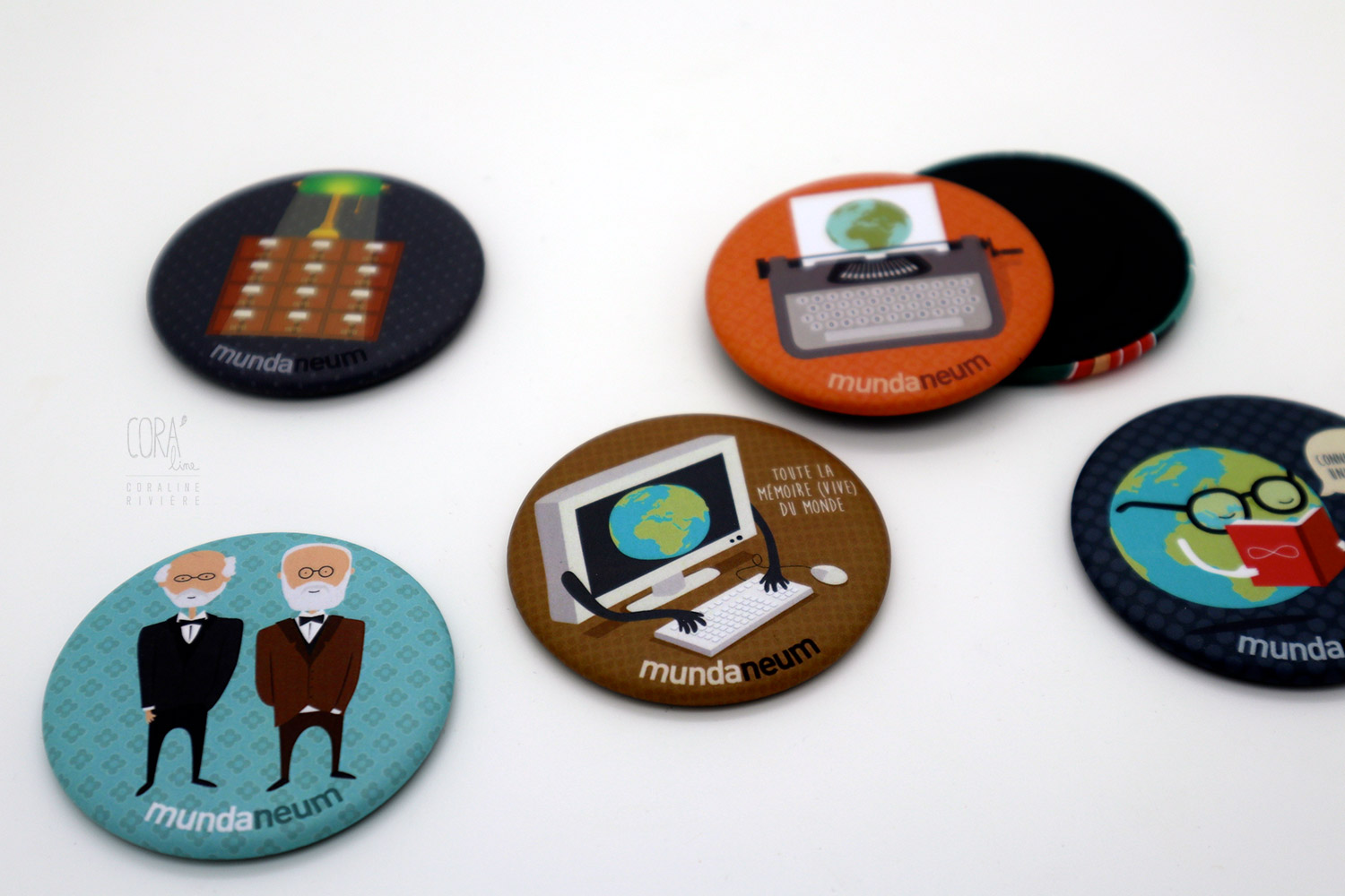 magnet badges paul otlet henri lafontaine illustrations mundaneum mons1