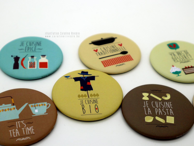 magnet decoratif frigo humour illustration retro