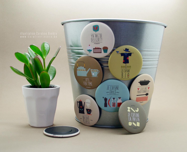magnet original pour decorer frigo couleur style retro