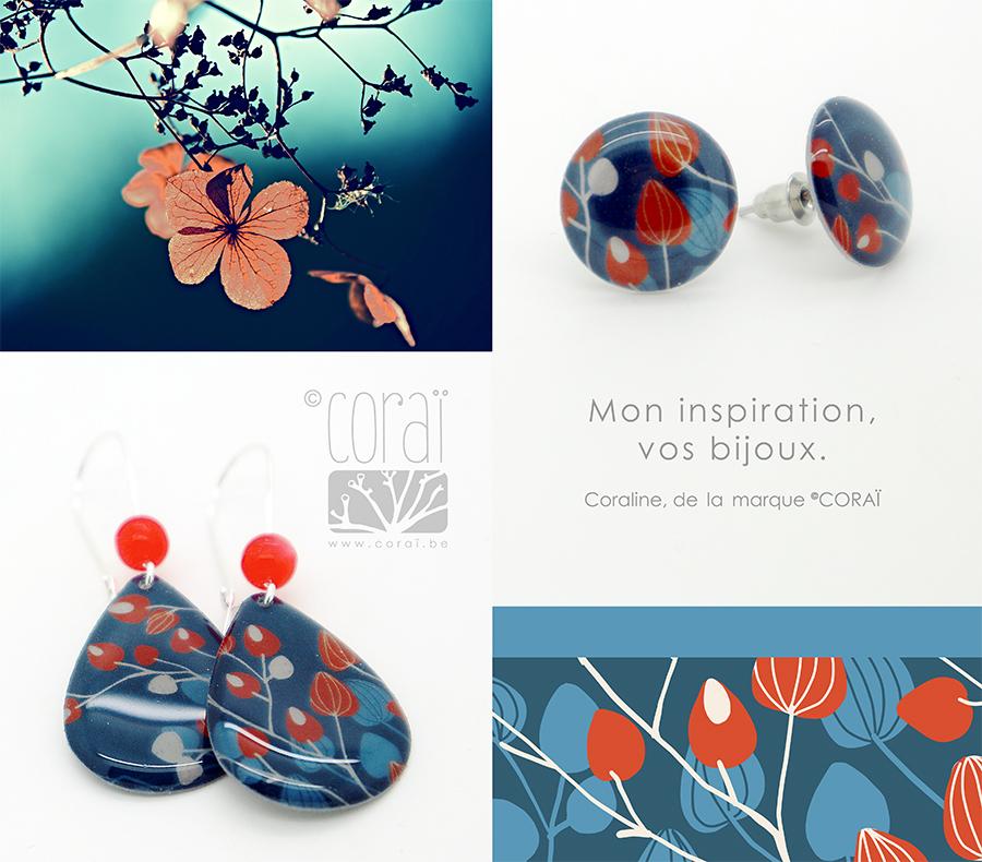 montage bijoux corai boucles oreilles motif floral retro bleu rouge graphique nature