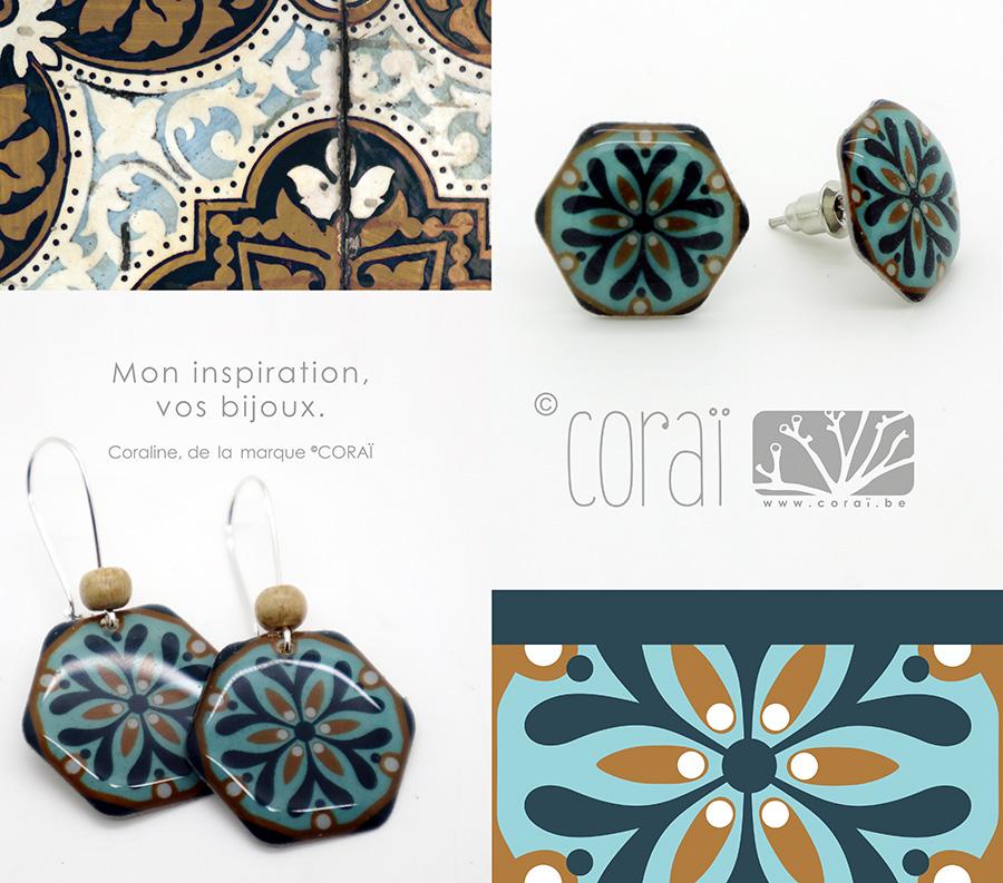 montage bijoux corai mosaique hexagone boucles oreilles retro bleu vert moutarde couleurs