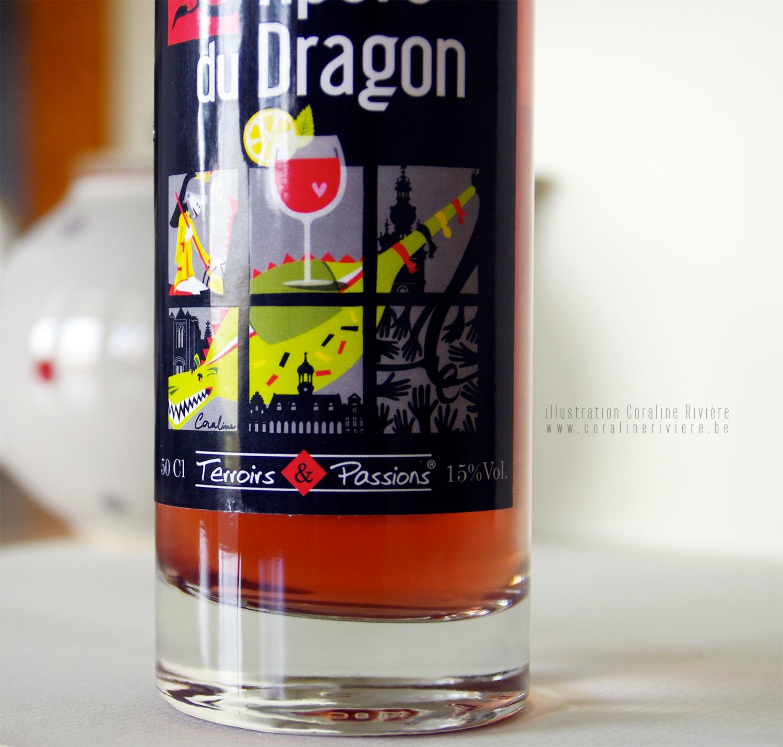 packaging etiquette bouteille alcool apero du dragon mons belgique