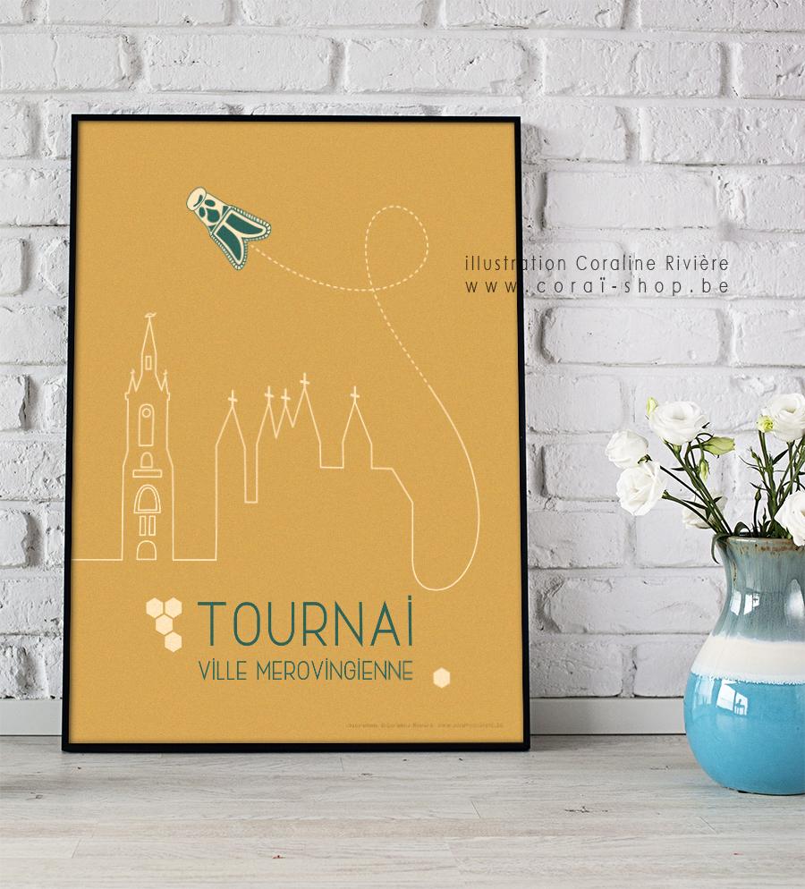 poster affiche ville tournai abeille merovingienne clovis childeric graphisme retro cathedrale tournai Coraline Riviere