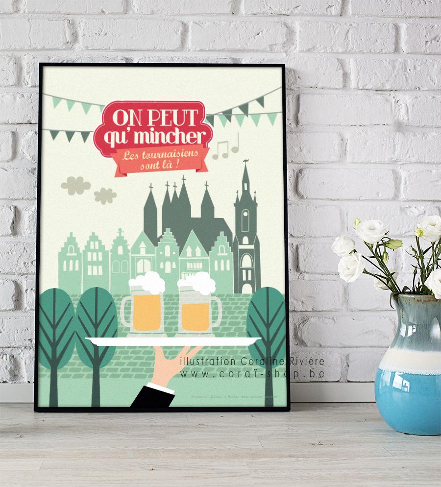 poster affiche ville tournai chanson on peut qu mincher les tournaisiens sont la illustration retro Coraline Riviere
