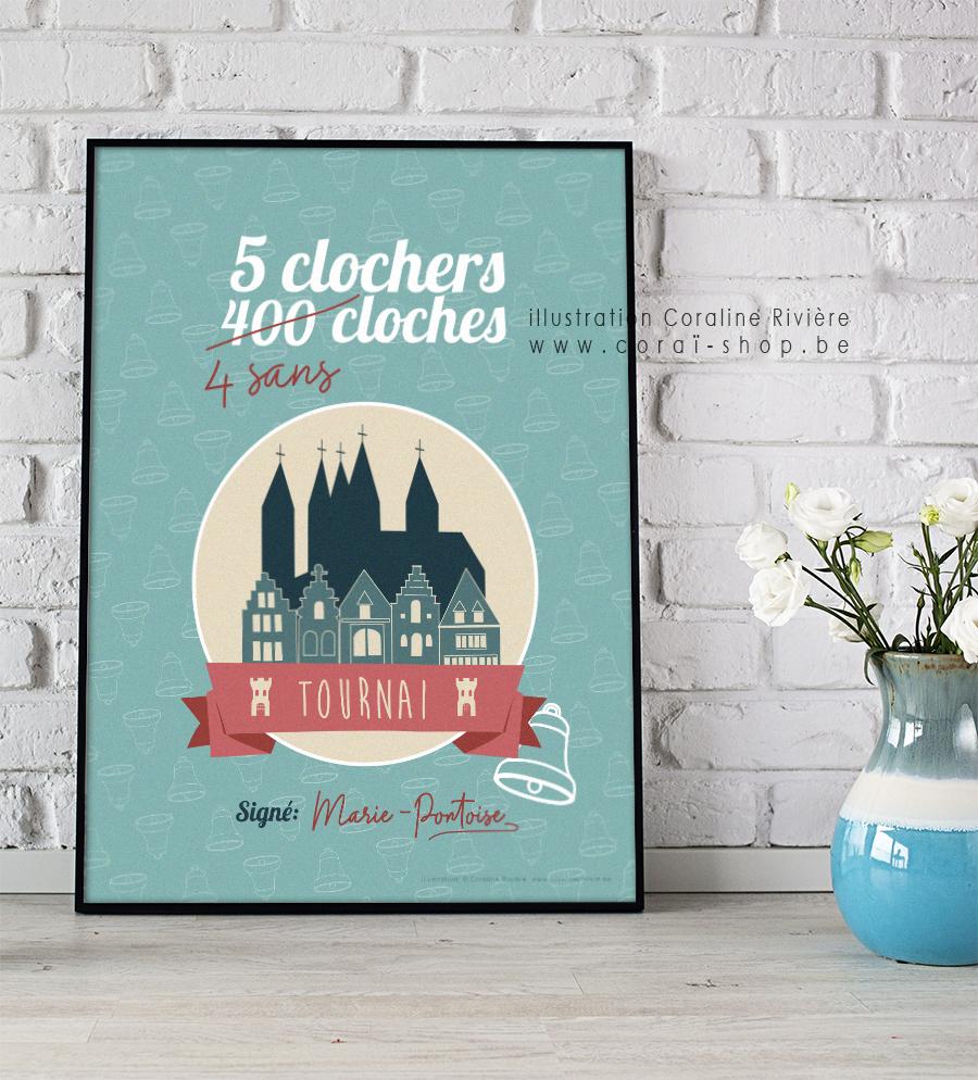 poster affiche ville tournai jeu de mots 5 clochers 400 cloches 4 sans cloches cathedrale