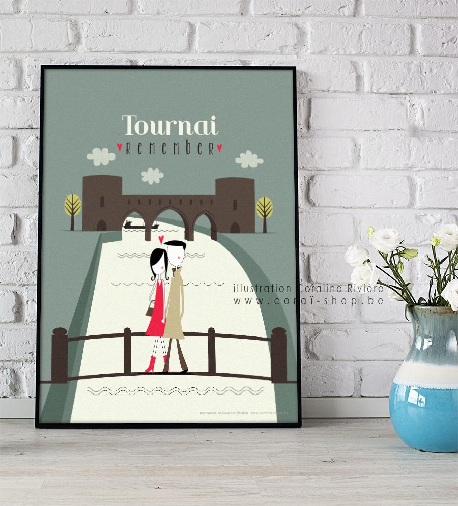 poster affiche ville tournai pont des trous promenade amoureux escaut quais illustration retro Coraline Riviere