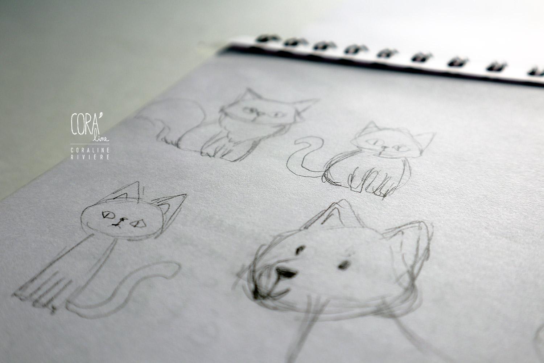 recherche croquis animaux chats chiens pour creation faire part naissance