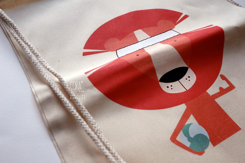 sac de gym en toile impression textile creation corai lion basketteur1
