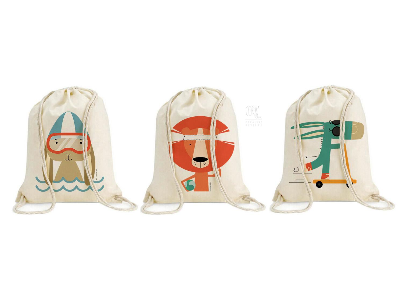 sac de gym enfant impression dessin animaux creation corai coraline riviere1