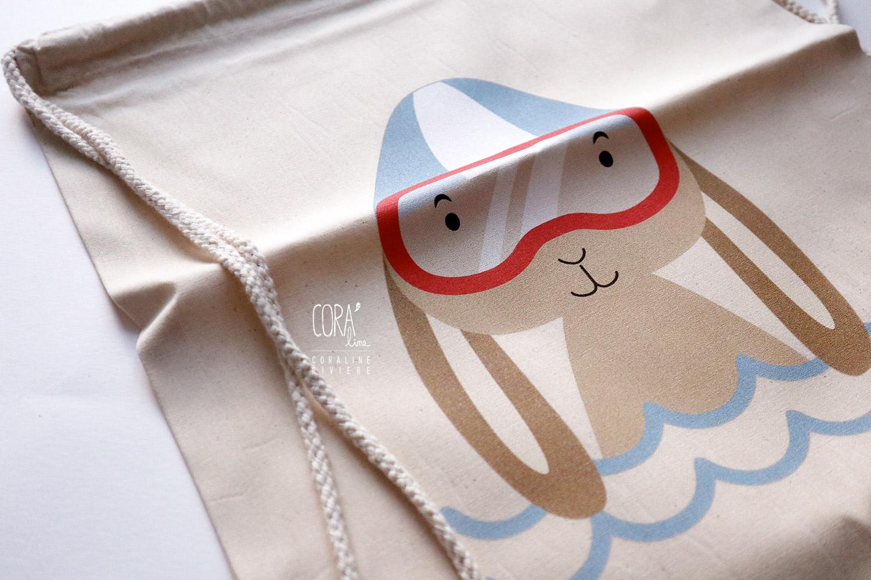 sac de gym illustration lapin a la piscine1