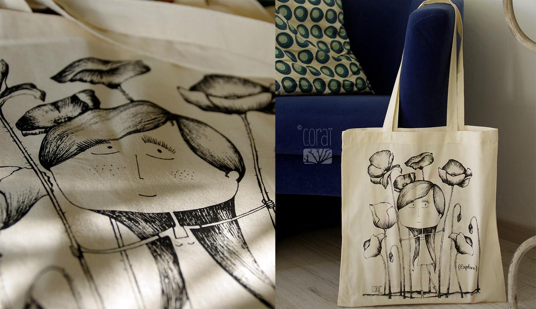 sac en toile coton naturel tote bag createur corai coraline riviere fillette balade champ coquelicot exploration