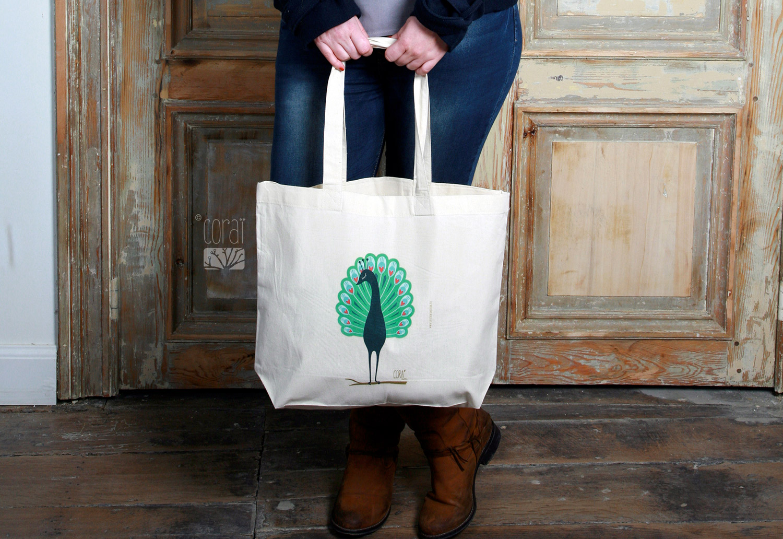 sac en toile coton naturel tote bag createur corai coraline riviere paon bleu vert