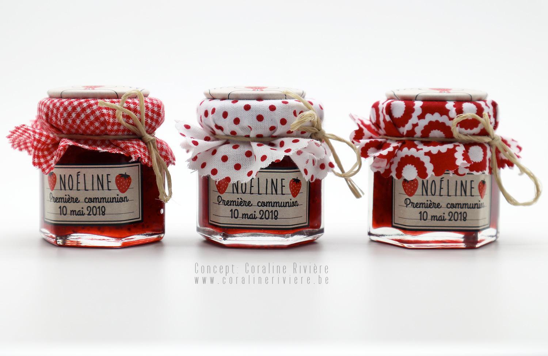 souvenir communion petits pots confiture fraise etiquette champetre