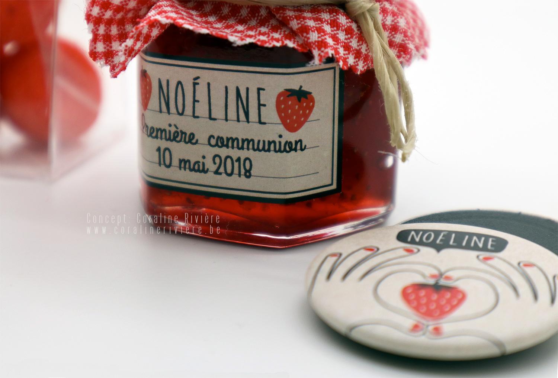 souvenir premiere communion confiture fraise champetre magnet frigo